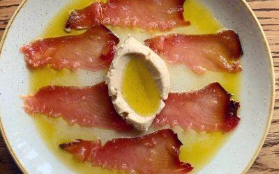 Dry Aged Tuna Salami, with Gatsuo Cream and Horseradish Oil.